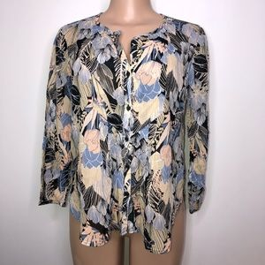 Lucky Brand Flowy Loose Floral Blouse Size Small